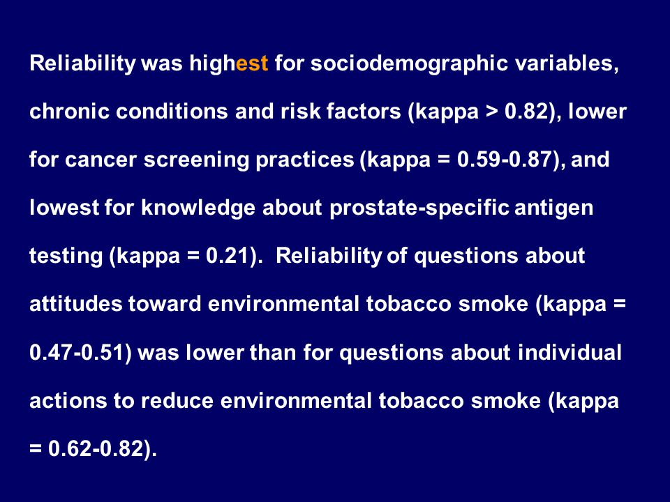 Reliability was highest for sociodemographic variables, chronic conditions and risk factors (kappa > 0.82), lower for cancer screening practices (kappa = 0.59‑0.87), and lowest for knowledge about prostate‑specific antigen testing (kappa = 0.21).