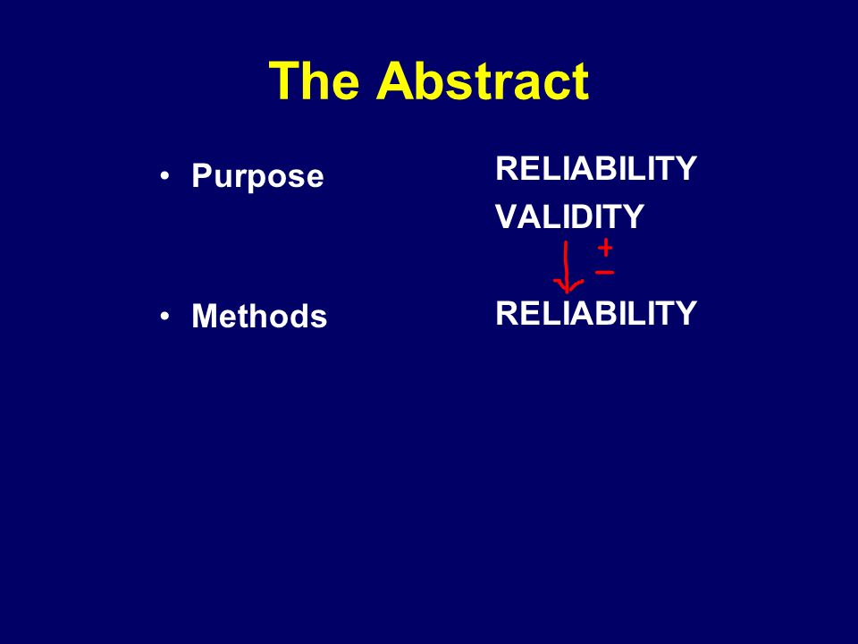 The Abstract RELIABILITY VALIDITY Purpose Methods
