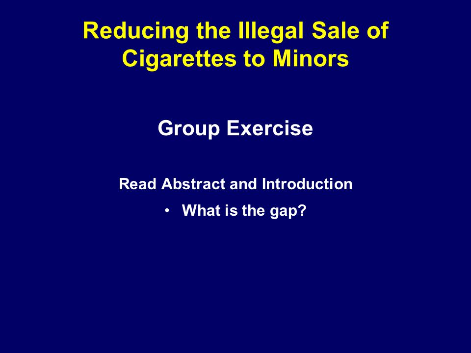 Reducing the Illegal Sale of Cigarettes to Minors