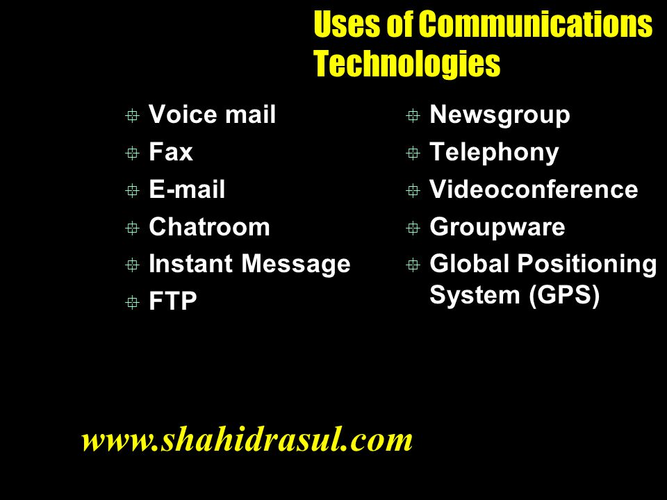 Uses of Communications Technologies