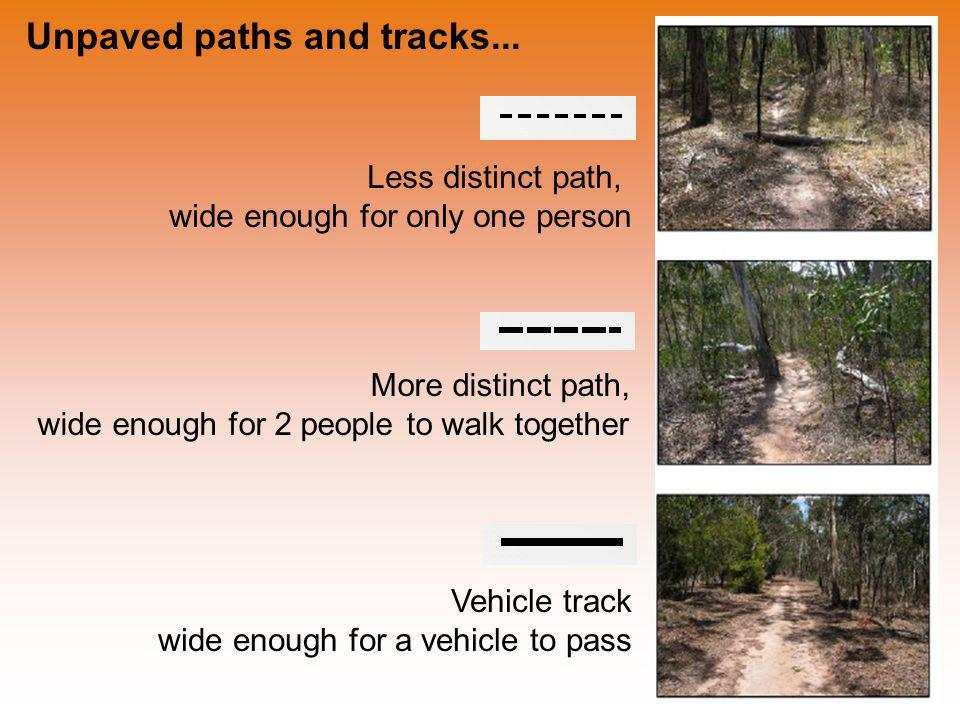 Unpaved paths and tracks...