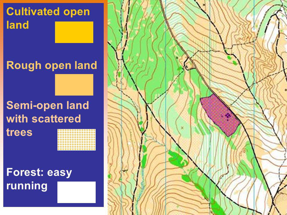 Cultivated open land Rough open land Semi-open land with scattered trees Forest: easy running