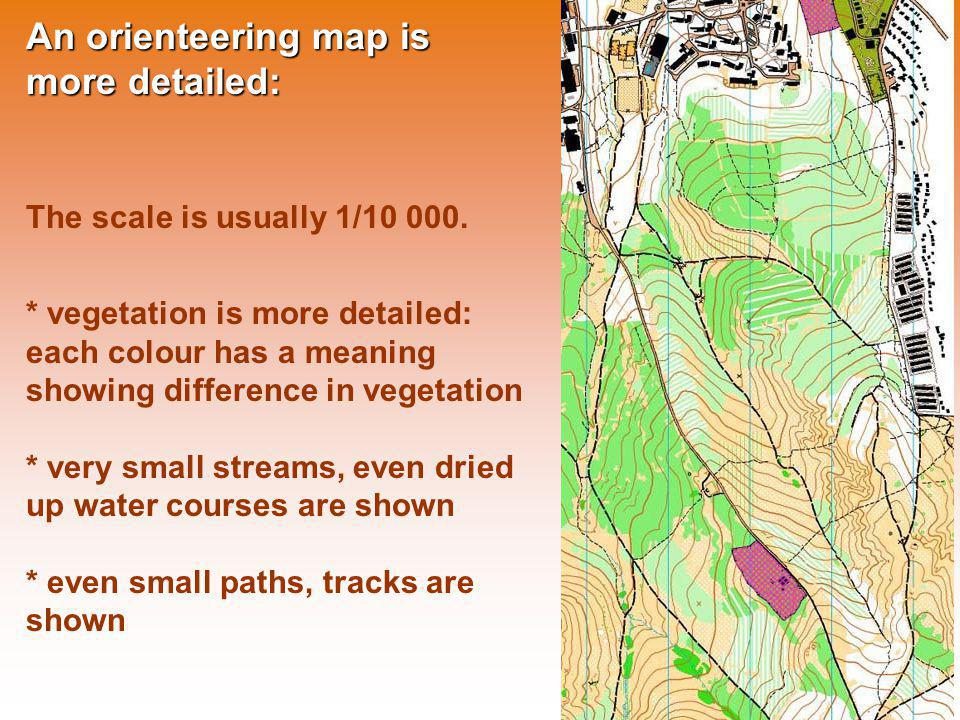 An orienteering map is more detailed: