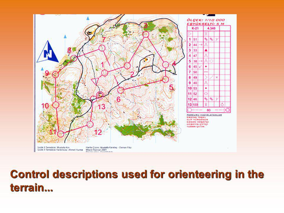 Control descriptions used for orienteering in the terrain...