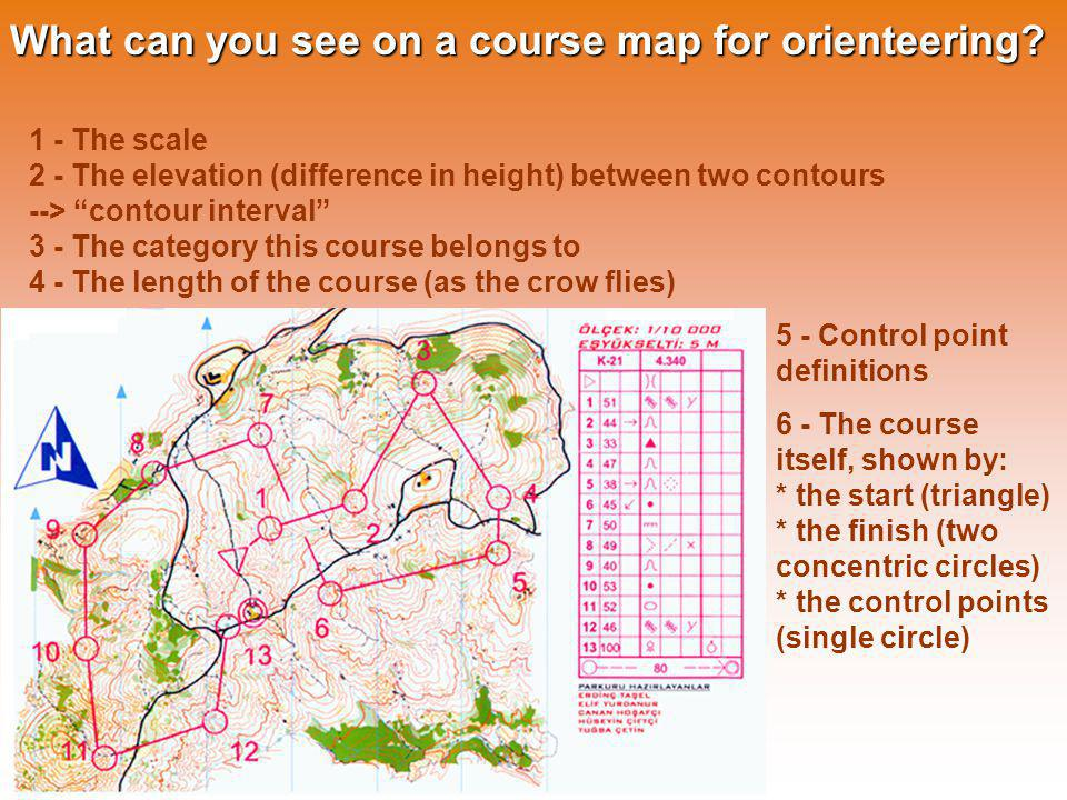 What can you see on a course map for orienteering