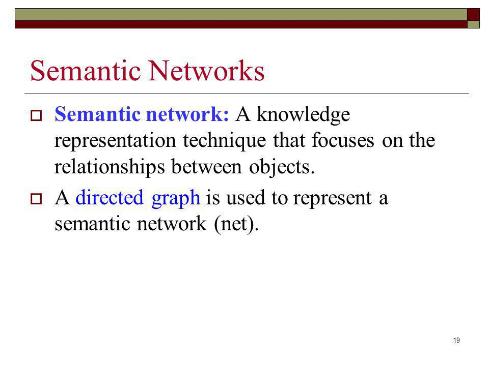 Semantic Networks Semantic network: A knowledge representation technique that focuses on the relationships between objects.