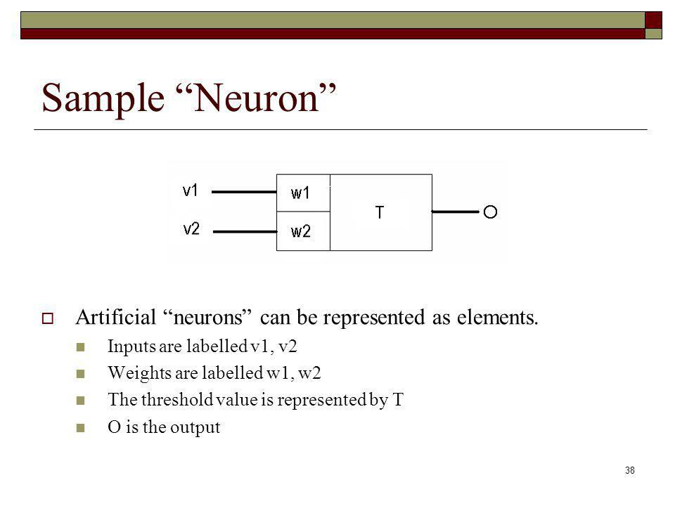 Sample Neuron Artificial neurons can be represented as elements.
