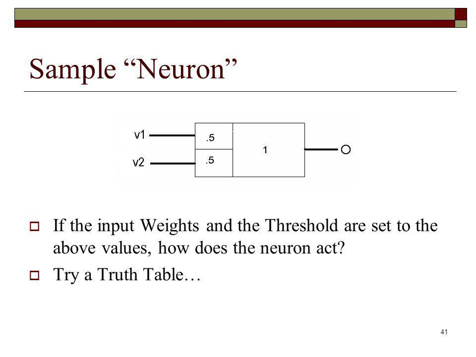 Sample Neuron If the input Weights and the Threshold are set to the above values, how does the neuron act