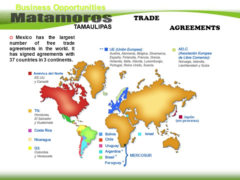 TRADE AGREEMENTS. Mexico has the largest number of free trade agreements in the world.