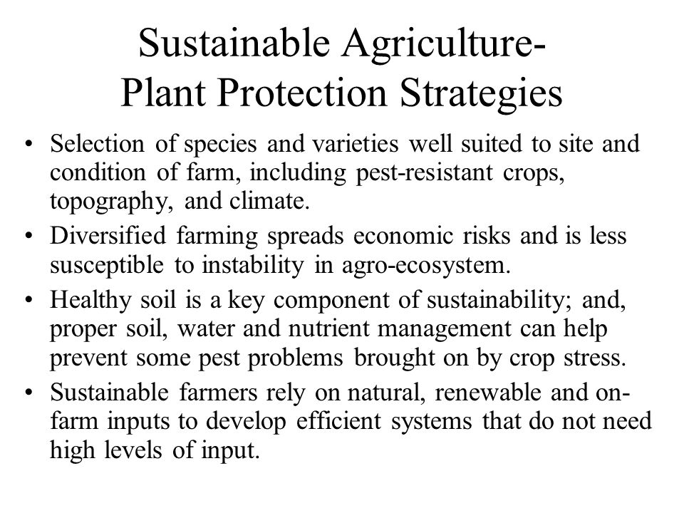 Sustainable Agriculture- Plant Protection Strategies