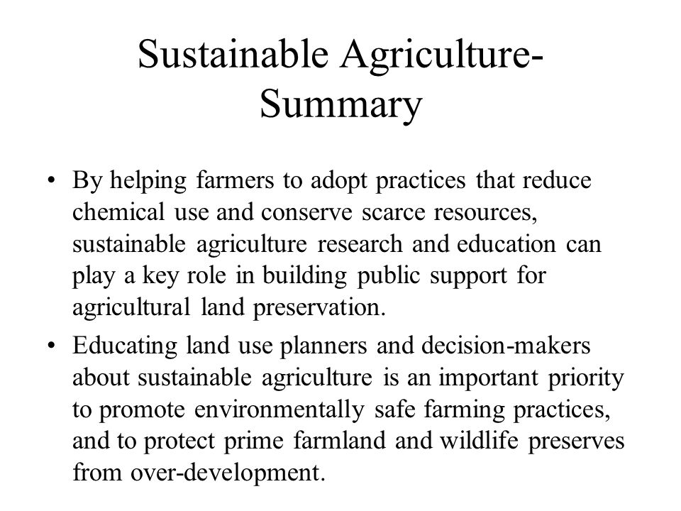 Sustainable Agriculture- Summary