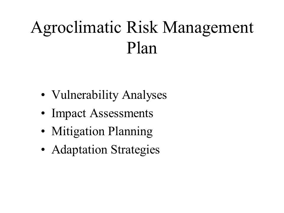 Agroclimatic Risk Management Plan