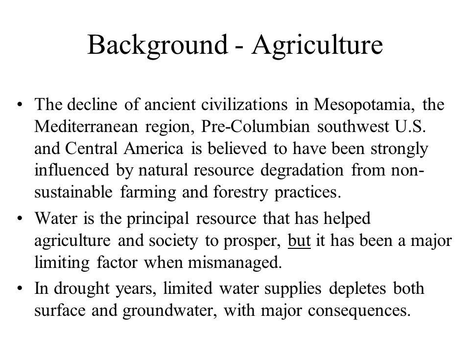 Background - Agriculture
