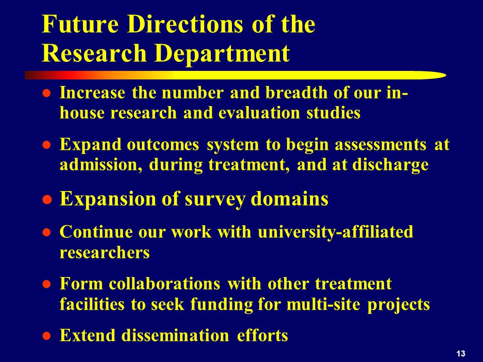 Future Directions of the Research Department