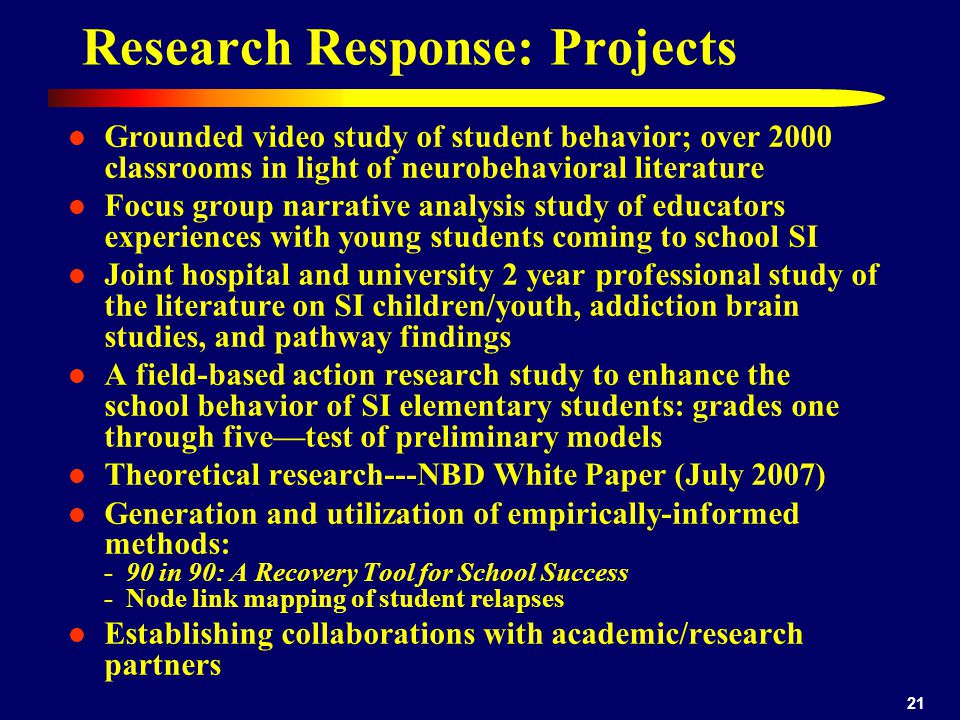 Research Response: Projects