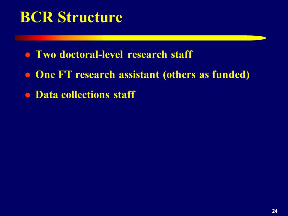 BCR Structure Two doctoral-level research staff