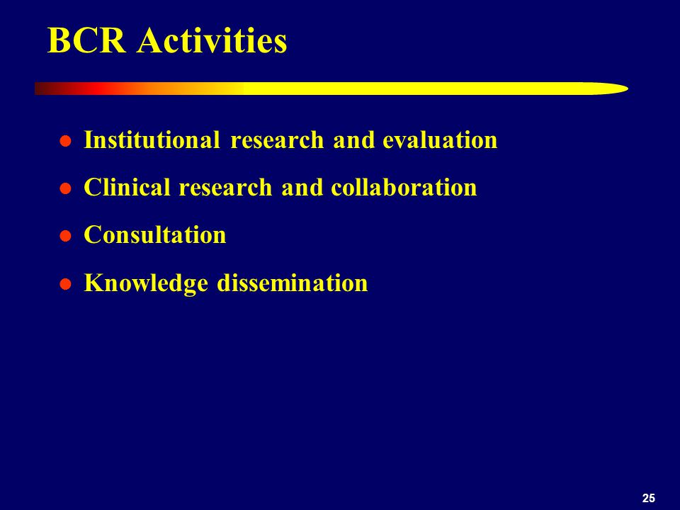 BCR Activities Institutional research and evaluation