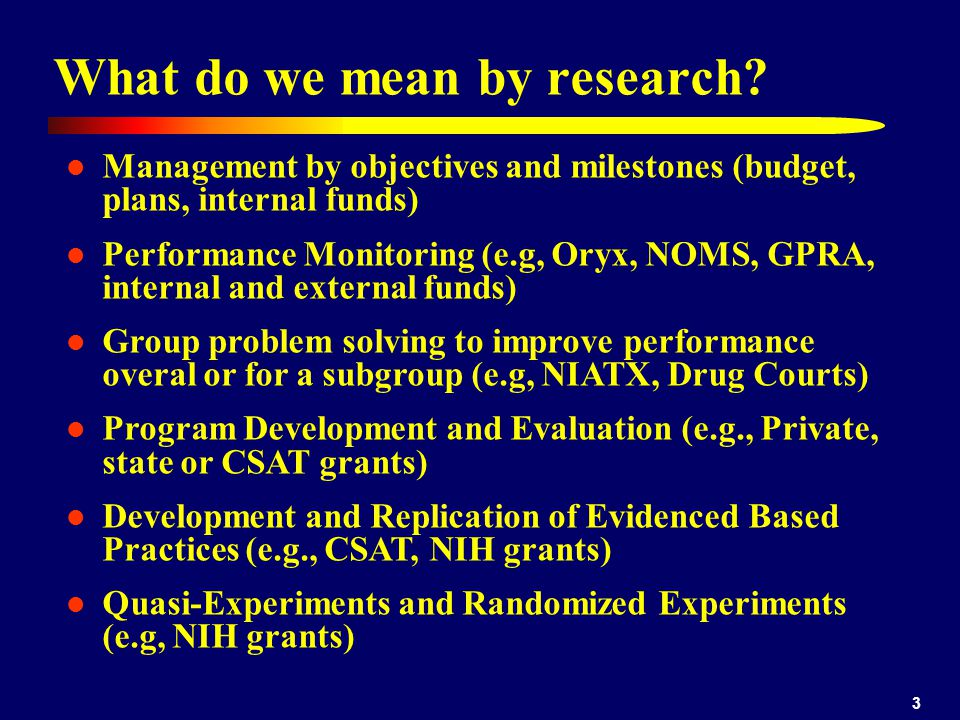 What do we mean by research