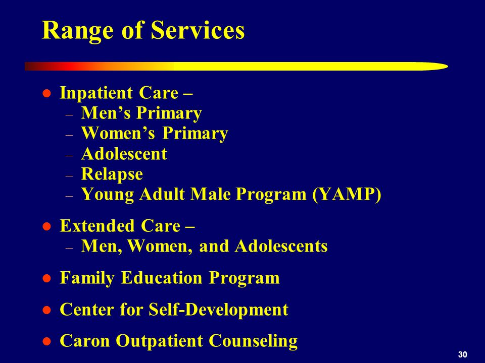 Range of Services Inpatient Care – Men's Primary Women's Primary