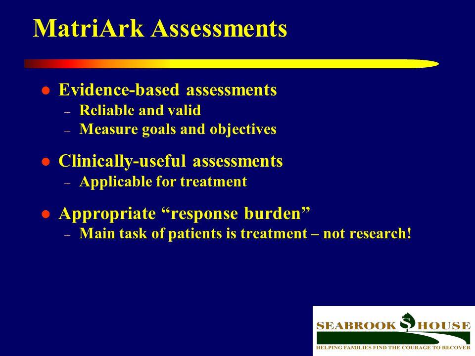 MatriArk Assessments Evidence-based assessments