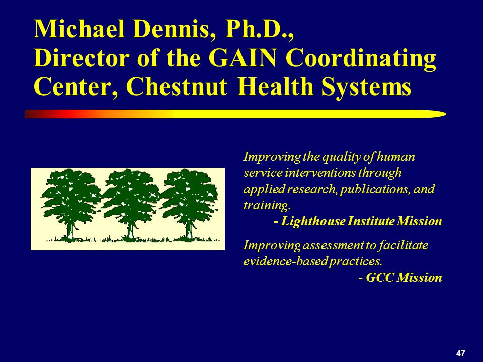 Michael Dennis, Ph.D., Director of the GAIN Coordinating Center, Chestnut Health Systems