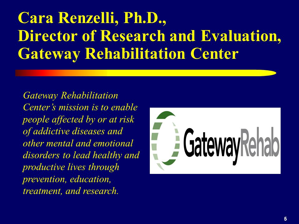 Cara Renzelli, Ph.D., Director of Research and Evaluation, Gateway Rehabilitation Center