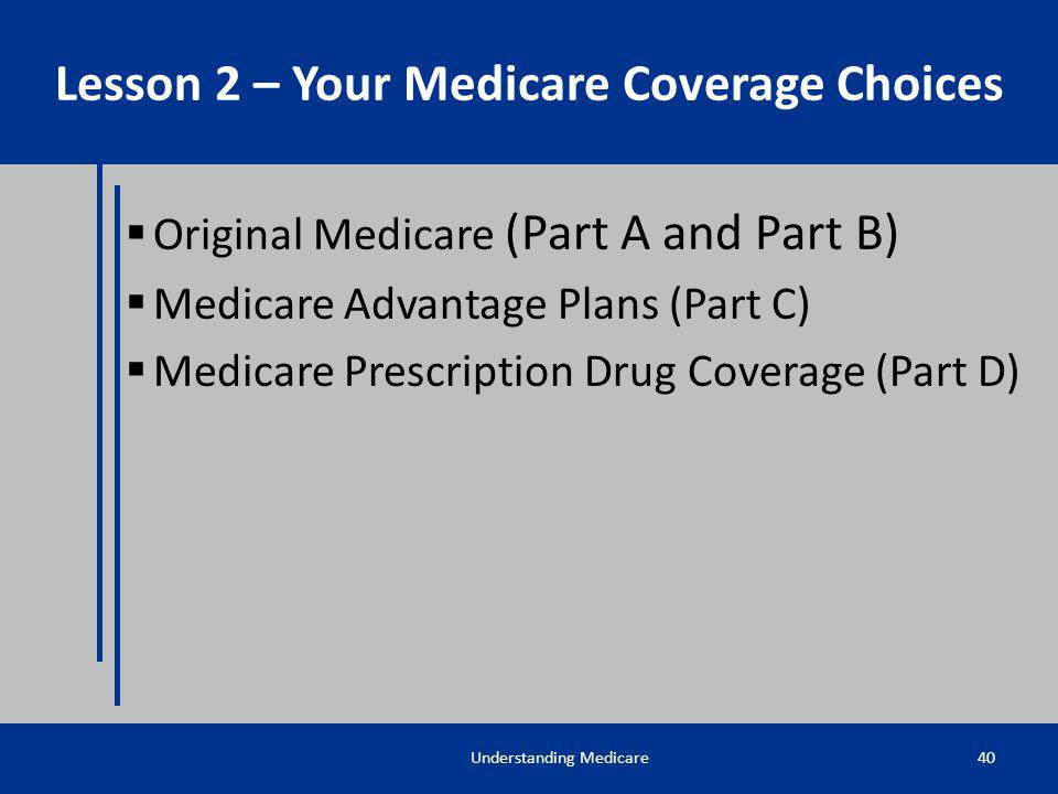 Lesson 2 – Your Medicare Coverage Choices