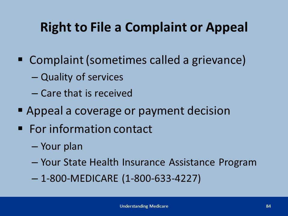 Right to File a Complaint or Appeal