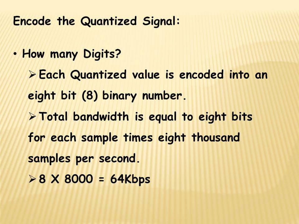 Encode the Quantized Signal: