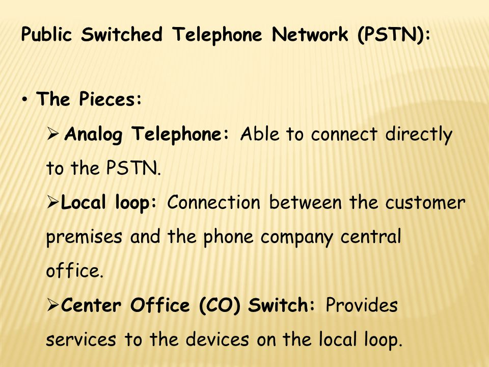 Public Switched Telephone Network (PSTN):