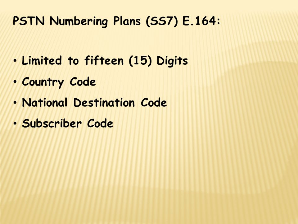 PSTN Numbering Plans (SS7) E.164: