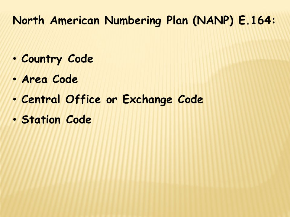 North American Numbering Plan (NANP) E.164: