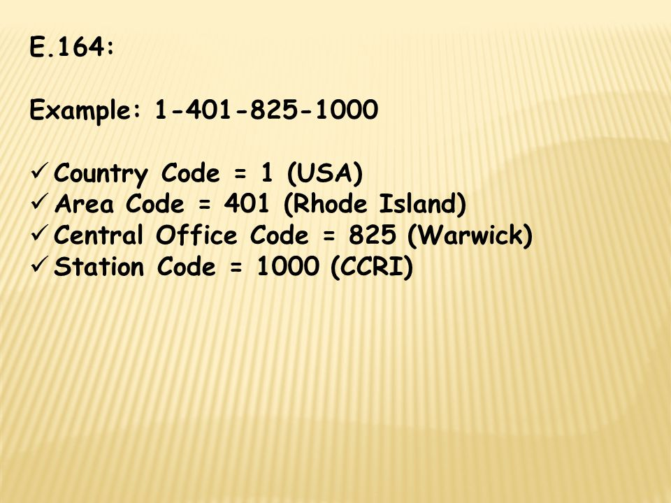 E.164: Example: 1-401-825-1000. Country Code = 1 (USA) Area Code = 401 (Rhode Island) Central Office Code = 825 (Warwick)