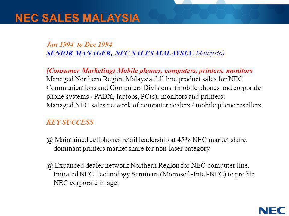 NEC SALES MALAYSIA Jan 1994 to Dec 1994