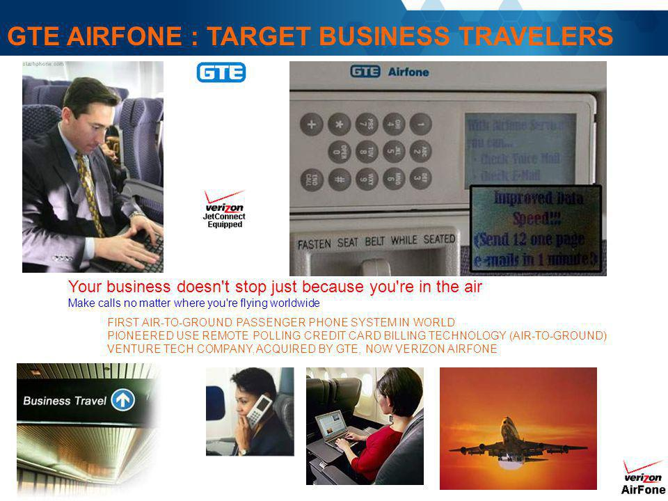 GTE AIRFONE : TARGET BUSINESS TRAVELERS