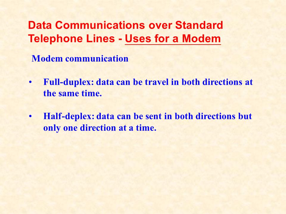 Data Communications over Standard Telephone Lines - Uses for a Modem