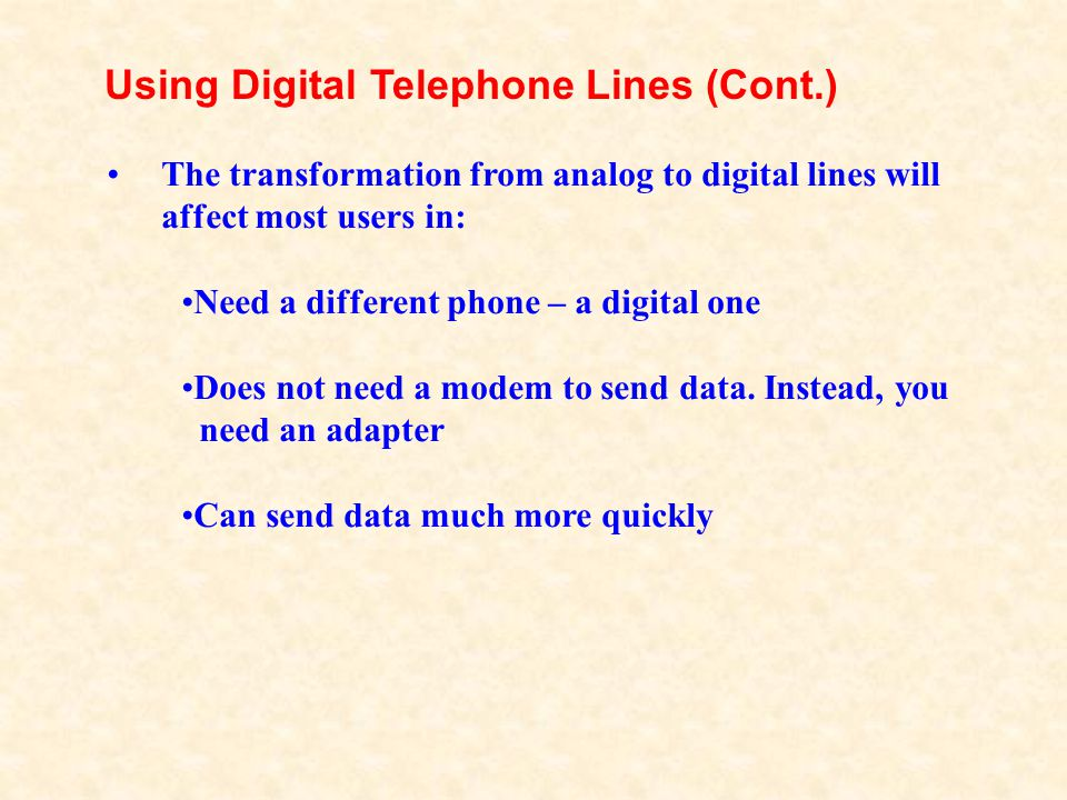 Using Digital Telephone Lines (Cont.)