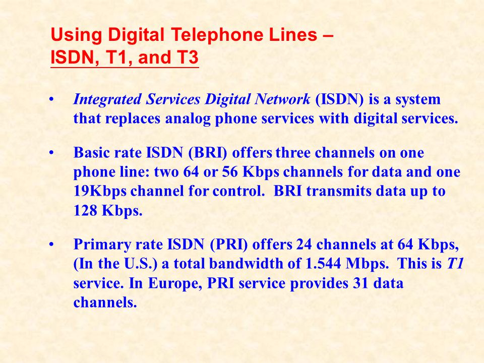 Using Digital Telephone Lines – ISDN, T1, and T3