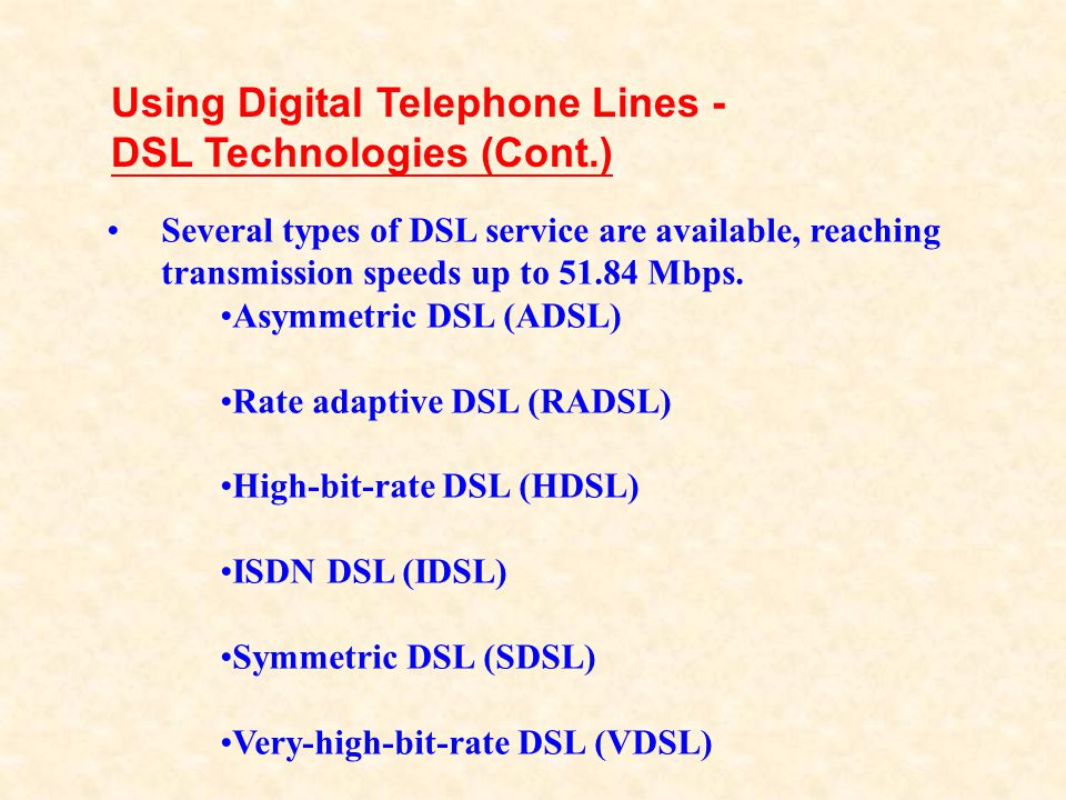 Using Digital Telephone Lines - DSL Technologies (Cont.)
