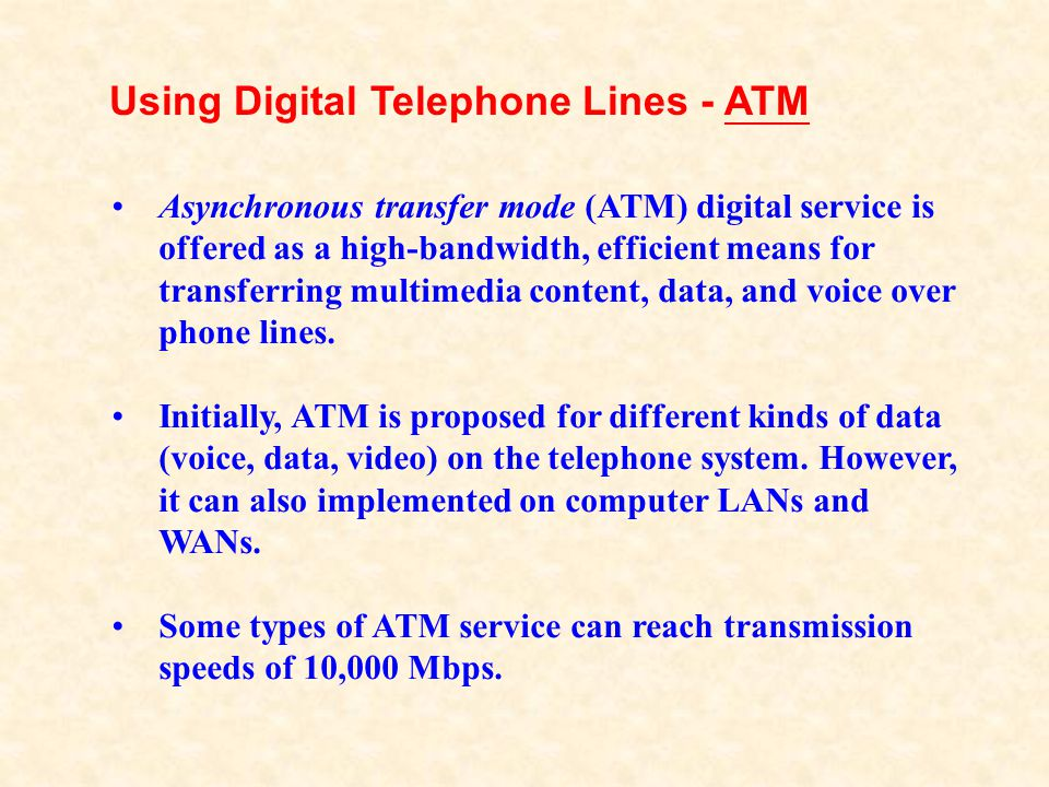Using Digital Telephone Lines - ATM