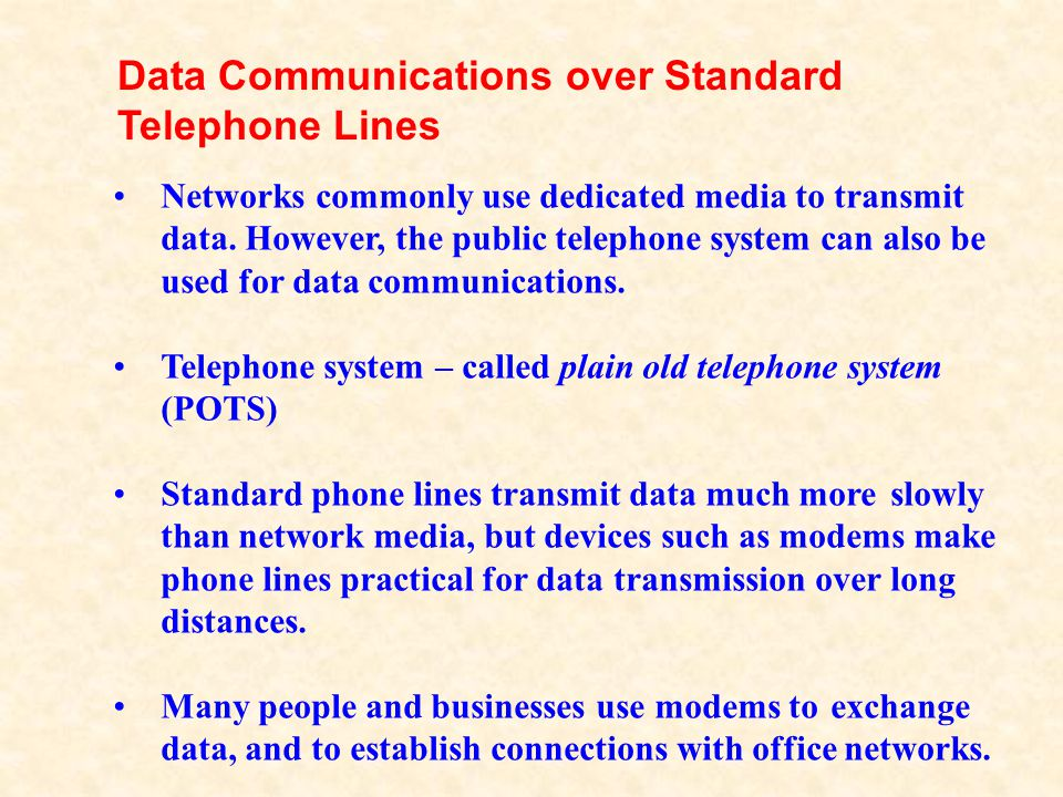 Data Communications over Standard Telephone Lines