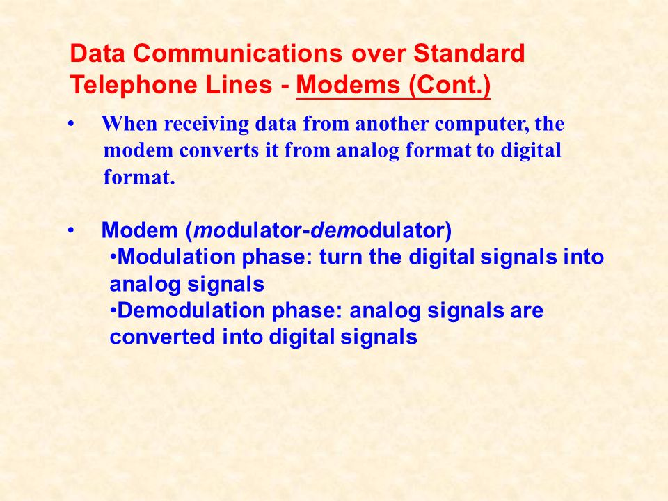 Data Communications over Standard Telephone Lines - Modems (Cont.)