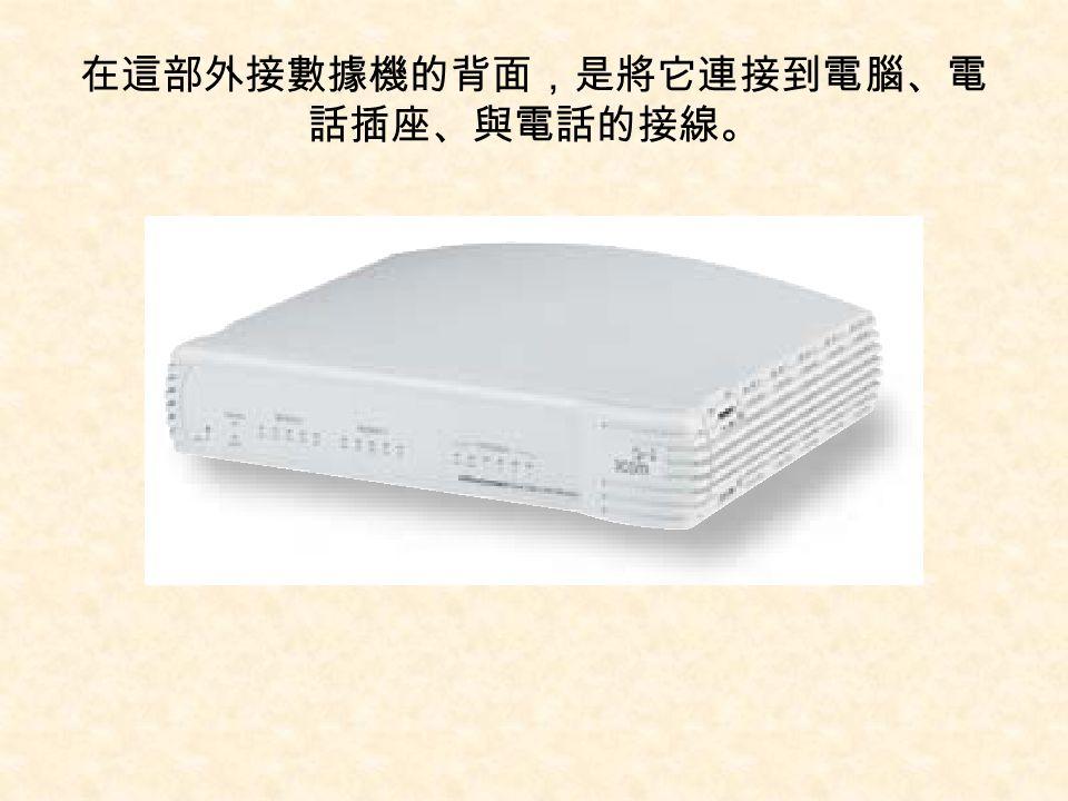 在這部外接數據機的背面,是將它連接到電腦、電話插座、與電話的接線。