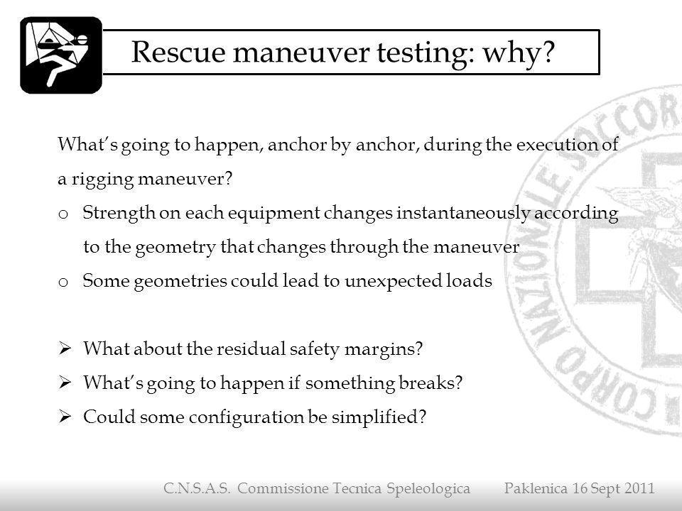 Rescue maneuver testing: why