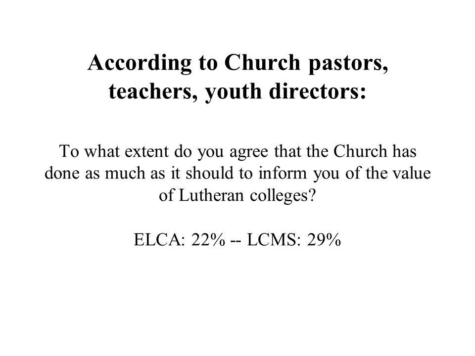According to Church pastors, teachers, youth directors: To what extent do you agree that the Church has done as much as it should to inform you of the value of Lutheran colleges ELCA: 22% -- LCMS: 29%