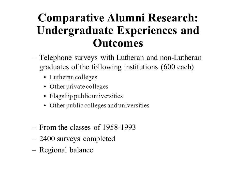 Comparative Alumni Research: Undergraduate Experiences and Outcomes