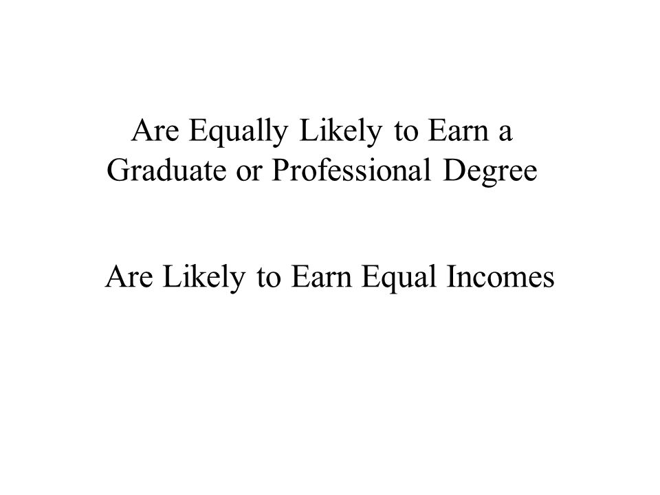 Are Equally Likely to Earn a Graduate or Professional Degree