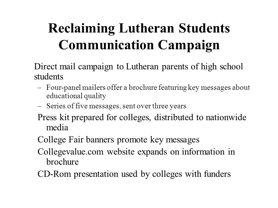 Reclaiming Lutheran Students Communication Campaign