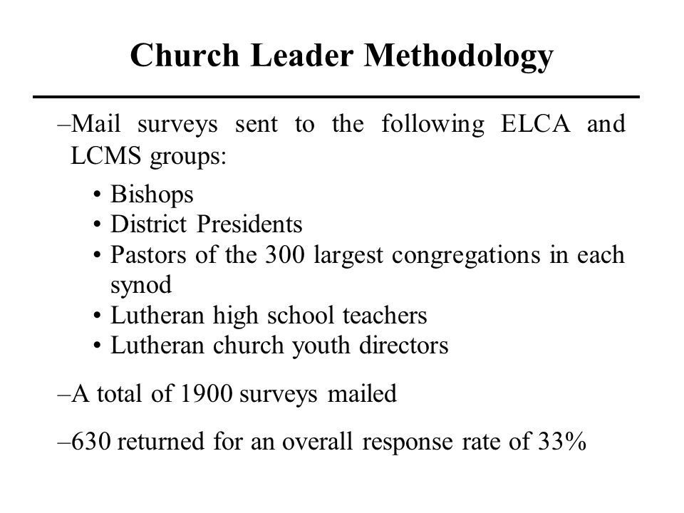 Church Leader Methodology