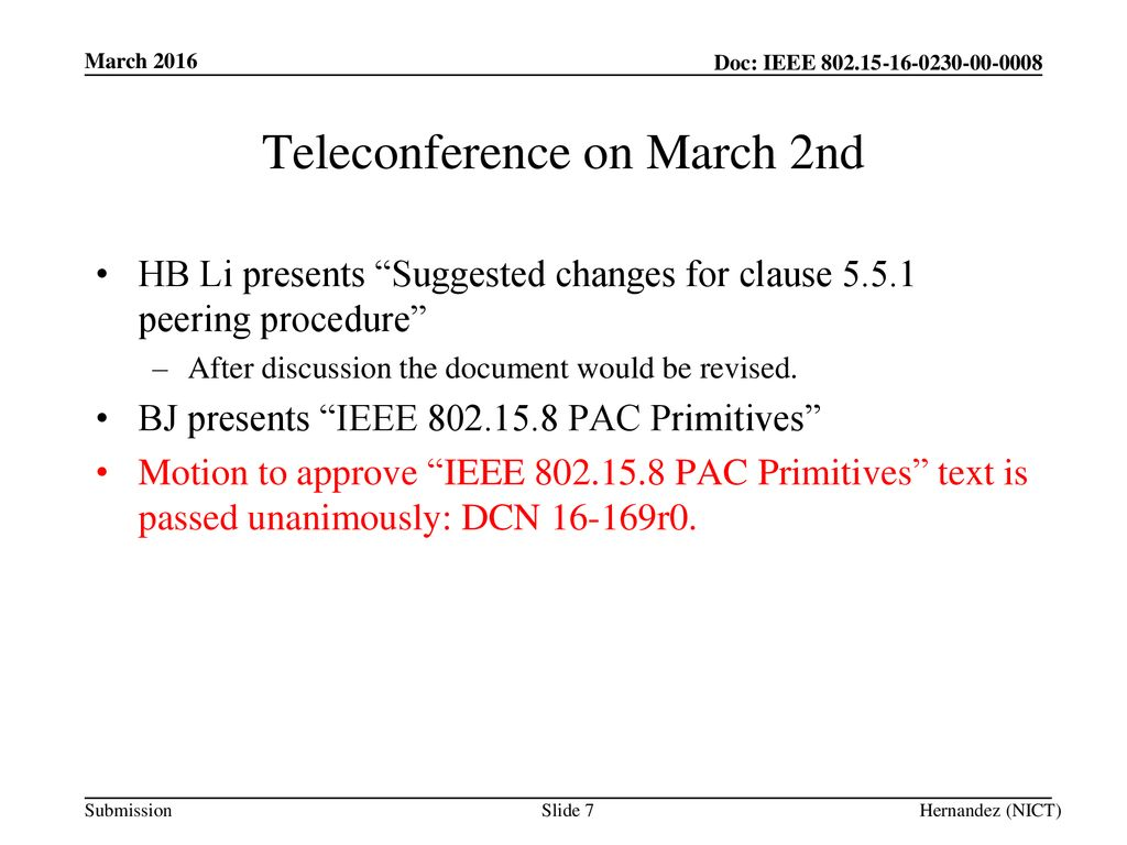 Teleconference on March 2nd